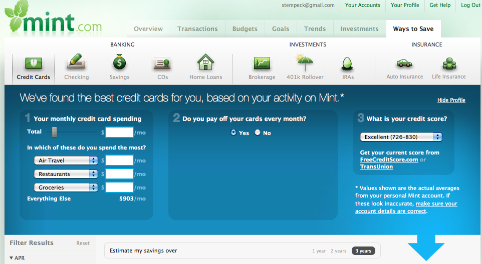credit card offers from Mint.com based on usage